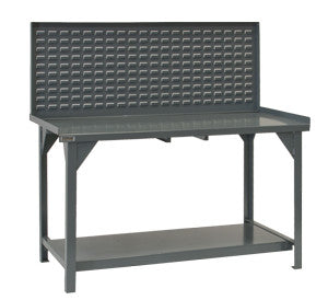 "60"" Heavy Duty Workbench with Louvered Back Panel - ShopStorageCabinets.com"