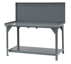 "60"" Heavy Duty Workbench with Steel Pegboard Back Panel - ShopStorageCabinets.com"