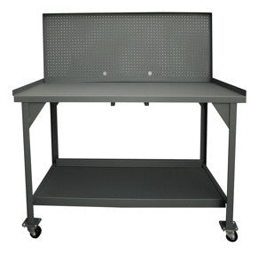 "Mobile 60"" heavy duty workbench with steel pegboard back panel - ShopStorageCabinets.com"