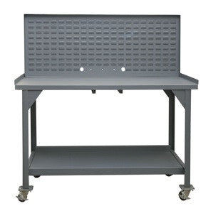 "Mobile 60"" heavy duty workbench with louvered back panel - ShopStorageCabinets.com"
