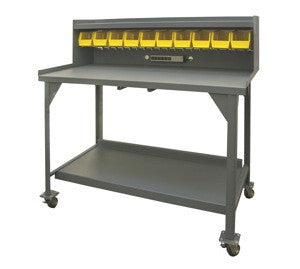 "Mobile 60"" Heavy Duty Workbench with Riser - ShopStorageCabinets.com"