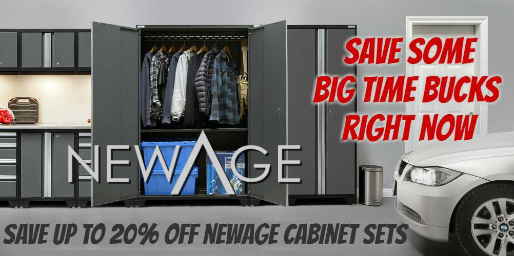 NewAge garage storage cabinets on sale