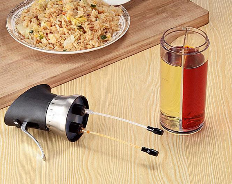 Stainless Steel Oil Sprayer - Dual Compartment Pump Dispenser