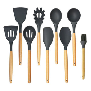 Silicone Cooking Tool Set With Wooden Handles; 9 pcs available