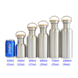 Stainless Steel Water Bottle with Bamboo Lids;  sm/med/lg