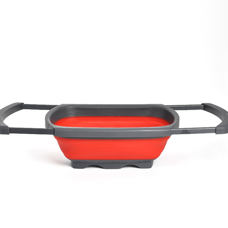 Collapsible Over the Sink Silicone Colander With Handle; 2 colors available