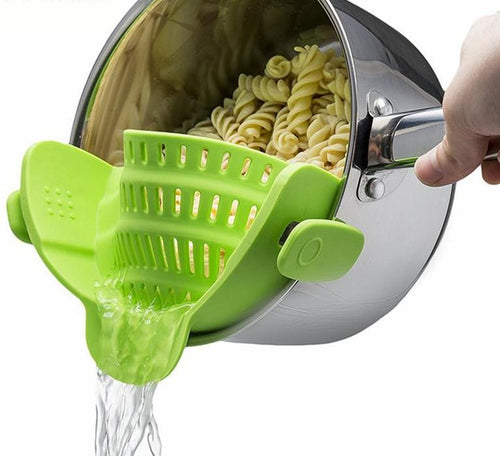 Silicone Clip-on Pot  Strainer; 3 colors available