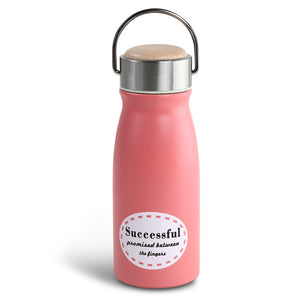 Adorable Stainless Steel Water Bottle with Bamboo Cap, 3 colors available