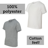 Clothing : 100% Polyester Youth/Toddler Tees