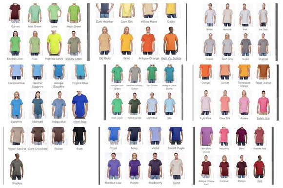 Clothing : Adult Shirt Colors S-XL