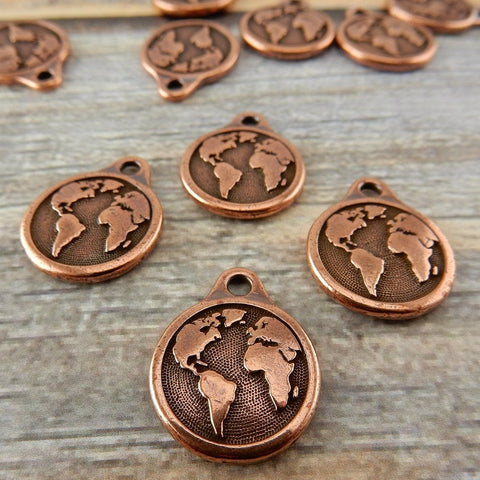 Copper Earth Charms, TierraCast Antique Copper Globe Charm