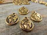Earth Charm Drops, Antique Gold, Tierracast Earth Charms, Planet Earth Pendants, Tierra Cast Finding for Jewelry Making and Crafts