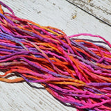 TROPICAL PUNCH Silk Cords Hand Dyed Silk 2-3mm, Hand Sewn Strings, Qty 1 to 25 Jewelry Making Craft Cord, Multi Colors Pink Orange Lilac Red