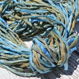 Sea Breeze Silk Cords Hand Dyed Silk Cords, Hand Sewn Strings, Qty 1 to 25 Cords 2-3mm Jewelry Making Craft Cord, Blue, Tan, Green, Brown