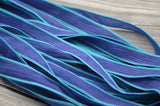 INDIGO WAVES Silk Ribbons, Qty 5, Crinkle Silk Ribbon, Hand Dyed Silk Wraps, Blue Ribbons, Great for Jewelry Making and Crafts