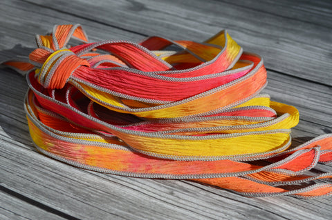 Hibiscus Silk Ribbons, Crinkle Silk Strings, Qty 5, JamnGlass Ribbon