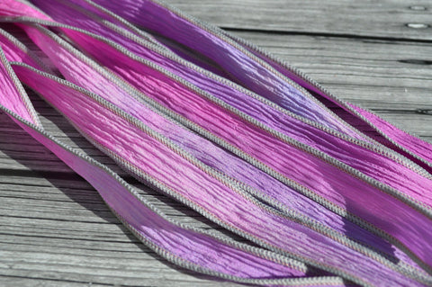 PEONY Silk Ribbon Wraps, Qty 5 Crinkle Silk Ribbons, Hand Dyed Ribbon, JamnGlass Watercolor Silk, For Necklaces, Silk Wraps or Bracelets