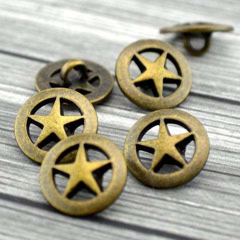 "TEXAS STAR Metal Buttons, Antique Brass Button, 5/8"" Five Pointed Star 15mm, Qty 4 to 24, For Leather Wrap Clasps, Western Cowboy Clothing"