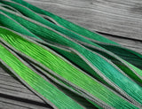 GREEN APPLE Silk Ribbon Wraps Qty 5 Crinkle Silk Ribbons, Hand Dyed Ribbon JamnGlass Watercolor Silk, For Necklaces, Silk Wraps or Bracelets