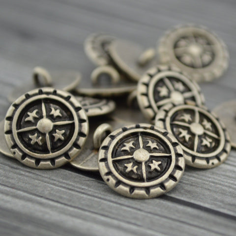 Fleur De Lis Metal Buttons, Antique Silver Metal Button, Quatre Foil, 17mm Qty 4 , Great for Leather Wrap Clasps or Clothing