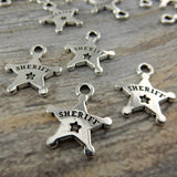 Sheriffs Badge Charms, Tierracast, Antique Silver, Deputy, Police Badge Western Charm Drop Pendants, Tierra Cast, Southwest Charms