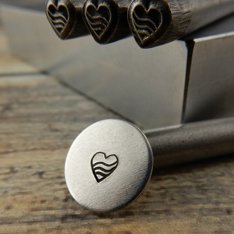 HEART with SWIRLY LINES Metal Stamp, 5mm, Hand Stamping, Metal Stamping Tool for Metal Jewelry Works with Metal, Wood, Clay and Leather