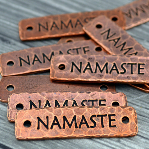 TierraCast NAMASTE Bracelet Bar Connecter Links Pendant Focal Antique Copper Rivetable, Stampable Back, Leather Bracelet Supplies Bar