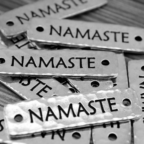 TierraCast NAMASTE Bracelet Bar Connecter Links Pendant Focal Antique Silver Rivetable, Stampable Back, Leather Bracelet Supplies Bar