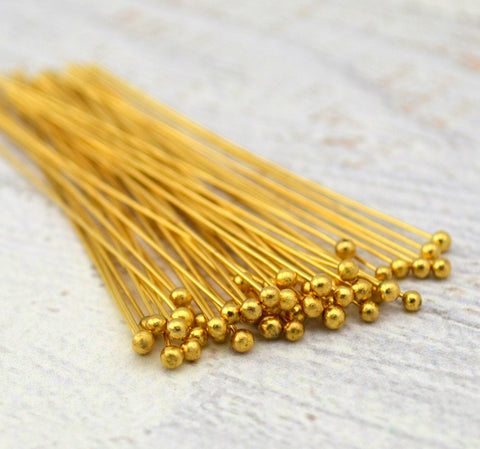 "2"" Gold Ball Pins, Ball Headpins, Gold Plated 24ga .5mm Wire, Genuine Gold, Jewelry Wire Wrapping Findings Supplies"