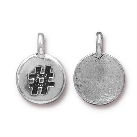 Hashtag Charms, TIerraCast Antique Silver Metal Charm Pendants