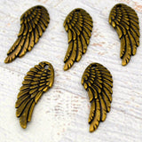 TierraCast WING Pendants, ANTIQUE BRASS 28mm Angel Wings Charms Qty 4 To 20 Bronze Focal or Earring Drops