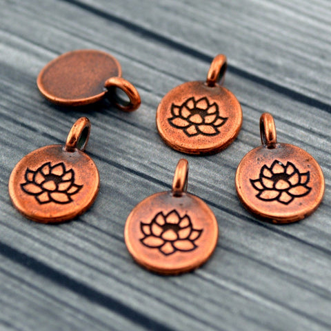 LOTUS Charms, Antique Copper, TierraCast, Tiny Lotus Charms, Drops, Qty 4 to 20 Yoga Meditaton Wrap Bracelet Charms