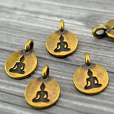 TierraCast Buddha Charms, Antique Brass, Tierra Cast Tiny Drop Pendants Bronze Sitting Buddha, Qty 4 to 20 Yoga Meditaton Wrap Bracelets