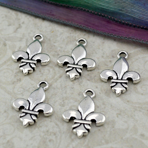 Fleur de Lis Charms, TierraCast, Antique Silver, French Lily Charms