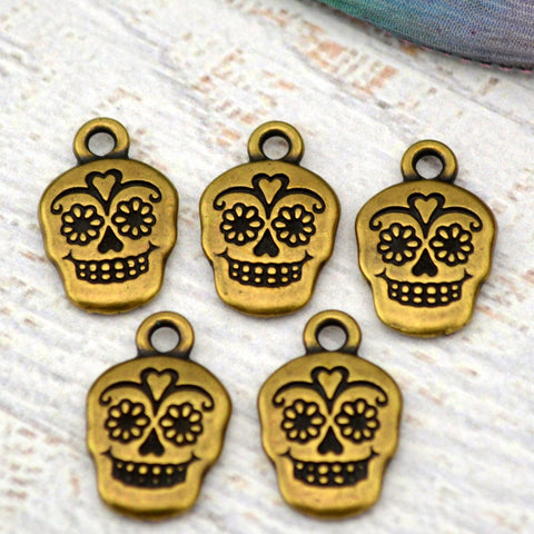 TierraCast SUGAR SKULL Charms, Antique Brass, Qty 4 to 20 Day of the Dead or Halloween Gothic Charms Tierra Cast