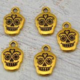 TierraCast SUGAR SKULL Charms, Antique Gold, Qty 4 to 20 Day of the Dead or Halloween Gothic Charms Tierra Cast