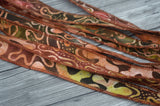 Batik Ribbons, Hand Dyed, Lively Mix of Brown Green Peach and Burgundy