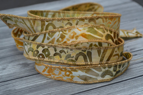 Batik Ribbons, Hand Dyed Batik Ribbon, Stringing Jewelry Making Supplies,