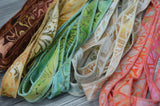 BEACH PARTY Batik Ribbon Assortment, Hand Dyed in Bali, Sample Pack, Brown, Coral, Aqua Blue and Green Bracelet Wraps, Jewelry Stringing Supplies