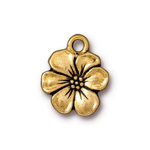 TierraCast Apple Blossom Charms, Flower Garden Charms, Qty 4 to 20, Antique Gold, Double Sided Tierra Cast, 17mm,