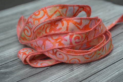 Coral Candy Batik Ribbons, Hand Dyed in Bali Cotton Strings, Stringing Supplies