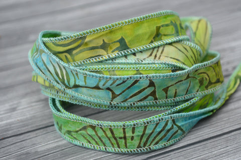 Island Life Batik Ribbon, Hand Dyed Cotton Ribbons, Green and Aqua Jewelry Making Ribbon