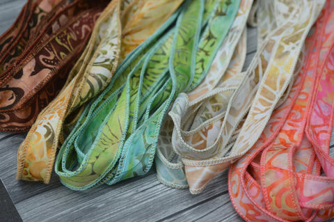 Batik Ribbons, Hand Dyed Batik Ribbon Assortment, Dyed in Bali