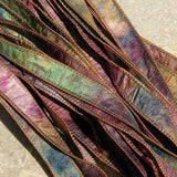 Watercolor Silk Ribbons Hand Dyed Sewn 5 Strings Tan Pink Blue Green Purple