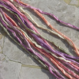 SWEET PEAS Pastel Assortment Silk Cords 7 Strings Hand Dyed in Peach Ivory Lilac Pink Cords