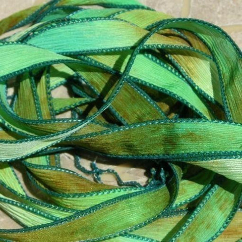 Emerald Isle Silk Ribbons, Hand Dyed Sewn, Crinkle Ribbon