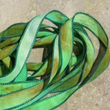 Emerald Isle, Qty 5 Silk Ribbons, Crinkle Silk Ribbon, Watercolor Hand Dyed  Sewn Green Gold Tan Brown Teal