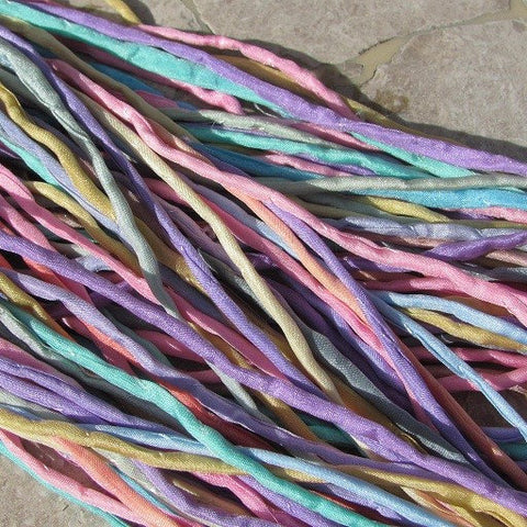 SWEET PASTEL Silk Cords Assortment Qty 10 to 50 Strings 2-3mm, Pink Blue Green Ivory, Hand Dyed For Kumihimo Braids Bracelet Wraps Necklaces