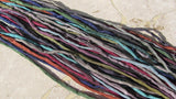 DARK NIGHT Hand Dyed Hand Sewn Silk Cord Assortment Qty 25, Stringing Supplies