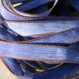 TEXAS BLUE JEANS Silk Ribbons Hand Dyed Jean 5 Strings, Great Silk Wraps for Jewelry
